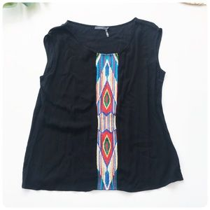 THML embroidered black tank top Large